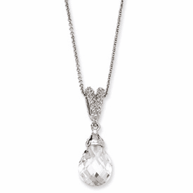 Cheryl M. COllection Sterling Silver Teardrop CZ 18in Necklace