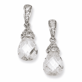 Cheryl M Collection Sterling Silver Teardrop CZ Dangle Post Earrings