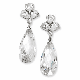Cheryl M CollectionSterling Silver Teardrop Dangle CZ Post Earrings