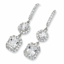 Cheryl M Sterling Silver CZ French Wire Earrings