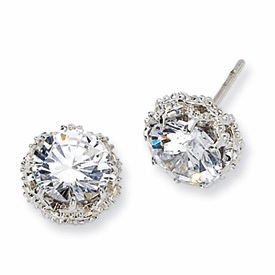 Cheryl M Sterling Silver Round CZ Post Earrings
