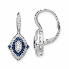 Cheryl Meyer Sterling Silver Cubic Zirconia and Blue Spinnel Earrings