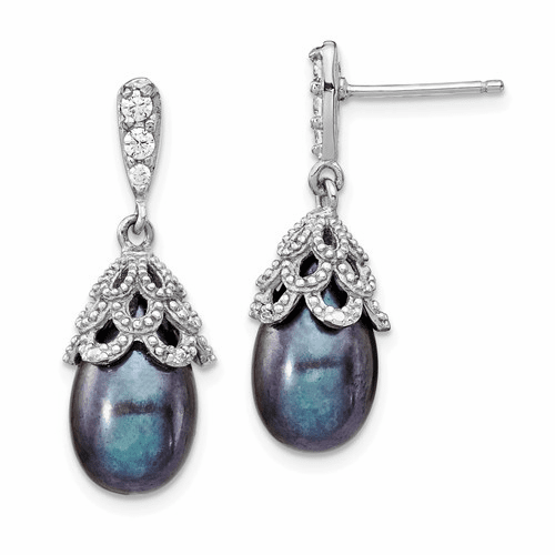 Cheryl Meyer Sterling Silver Freshwater Black Pearl Drop Earrings