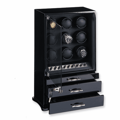 Chose Black, Dark Maple, Dark Burlwood or CHerry Glossy Finish Vertical 9-Watch Watch Winder