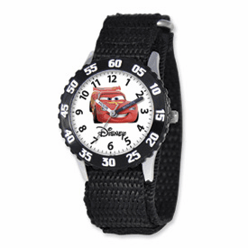 Disney Cars Lightning McQueen Black Velcro Band Time Teacher Watch