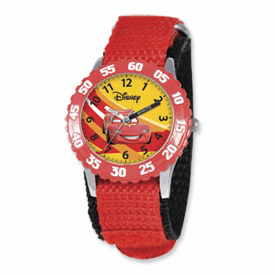 Disney Cars Lightning McQueen Red Velcro Band Time Teacher Watch