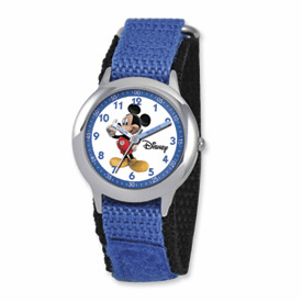 Disney Kids Mickey Mouse Blue Velcro Band Time Teacher Watch