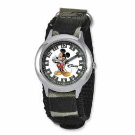 Disney Kids Mickey Mouse Camoflage Velcro Band Time Teacher Watch