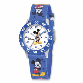 Disney Kids Mickey Mouse Printed Fabric Band Time Teacher Watch