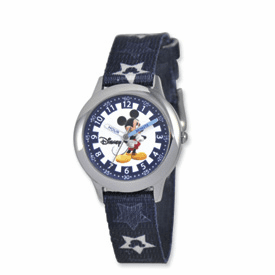Disney Kids Mickey Mouse Printed Stars Fabric Band Time Teacher Watch