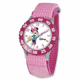 Disney Kids Minnie Mouse Pink Velcro Band Time Teacher Watch