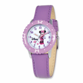 Disney Kids Minnie Mouse Purple Leather Band Time Teacher Watch