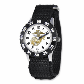 Disney Military Kids Marines Black Velcro Band Time Teacher Watch