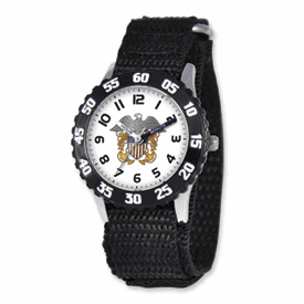 Disney Military Kids Navy Black Velcro Band Time Teacher Watch