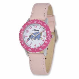 Disney Pooh & Friends Eeyore Pink Leather Band Time Teacher Watch