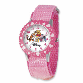 Disney Pooh & Friends Kids Pink Velcro Band Time Teacher Watch