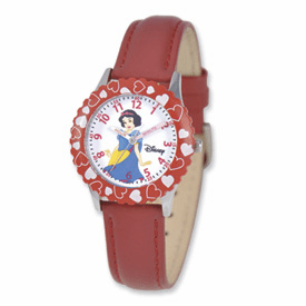 Disney Princess Kids Snow White Red Leather Band Time Teacher Watch