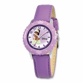 Disney Princess Kids Tiana Purple Leather Band Time Teacher Watch