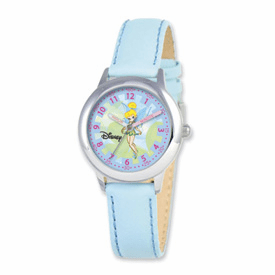 Disney Tinker Bell Dreamland Blue Leather Band Time Teacher Watch