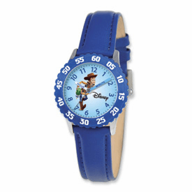 Disney Toy Story Kids Woody Blue Leather Band Time Teacher Watch