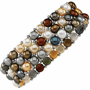 Dyed Multi Pearl & Sterling Silver Stretch Bracelet
