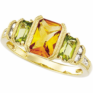 Genuine Multi-Color Gemstone & Diamond Ring