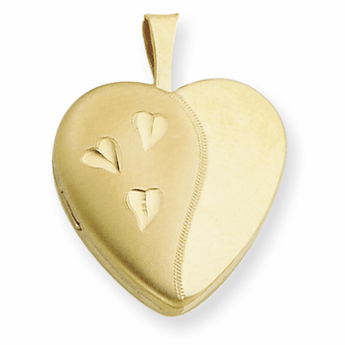 Gold Filled 16mm Satin and Polished Heart Locket