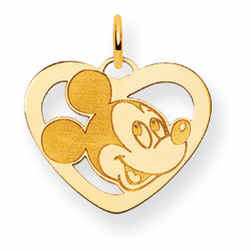 Gold-plated SS Disney Mickey Heart Charm