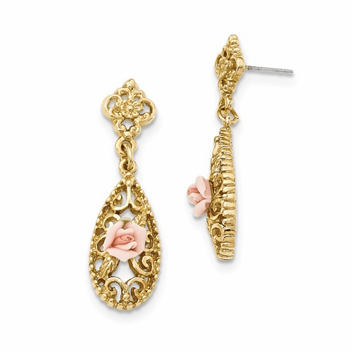 Gold-Tone Downton Abbey Pink Porcelain Rose Dangle Earrings