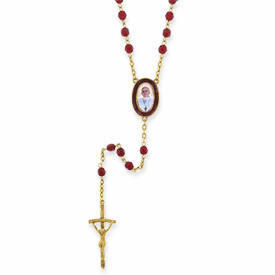 Gold-tone w/Red Glass Beads Enameled Pope Francis I Rosary