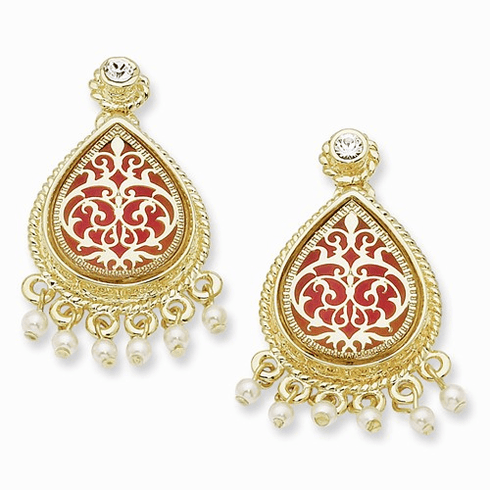 Jackie Kennedy 24k Gold-plated  French Moroccan enamel accented post earrings reproduced by Camrose and Kross