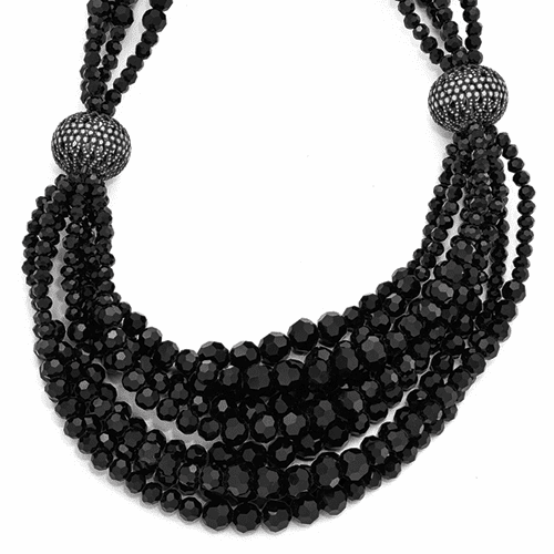 Jackie Kennedy Black Bead 17.25in w/ 2in ext Multi-strand Necklace
