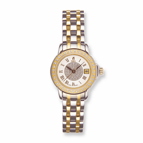 Ladies Ernest Borel Two-tone Stainless Crystal Watch