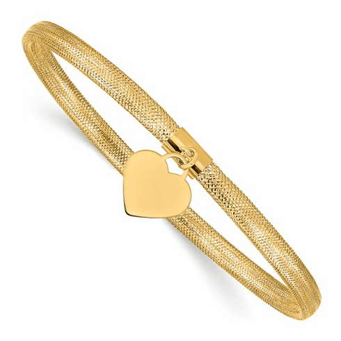 Leslie's 14k Gold Stretch Mesh Heart Bracelet