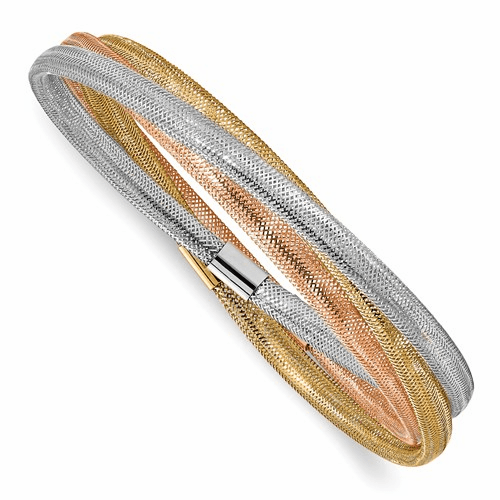 Leslie's 14K Tri-Color Stretch Mesh Three Intertwined Bracelets