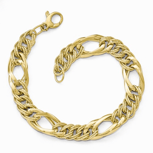 Leslies 14k Polished & Textured Fancy Link Bracelet