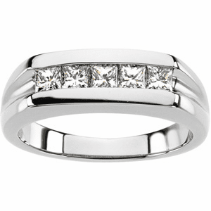 Man's Platinum  and Princess Cut Diamond Ring