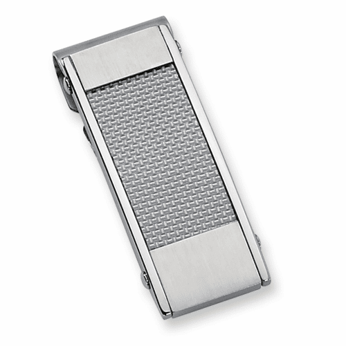 Man's Stainless Steel Grey Carbon Fiber Money Clip by CHisel