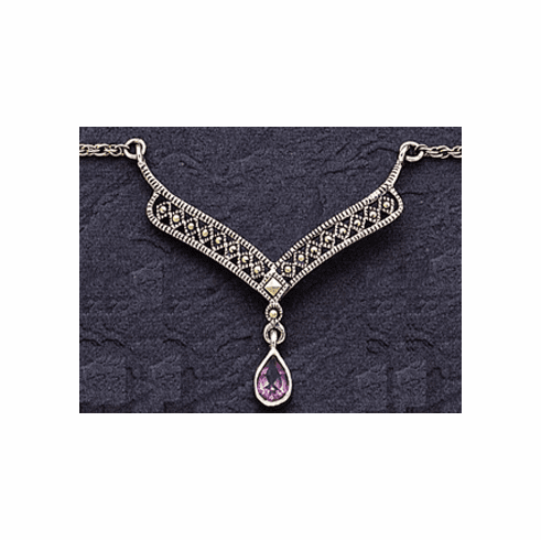 Marcasite Necklace with Amethyst