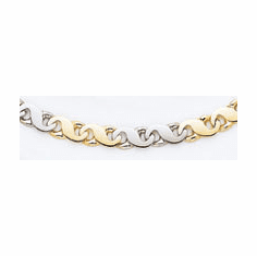 Men's 14k Two Tone Hand-polished Heavy Link Chain