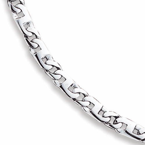 Men's 14k White Gold 6mm Hand-polished Fancy Link Chain