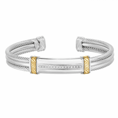 Men's Sterling Silver and 18K Gold Triple Strand Cable Diamond Cuff