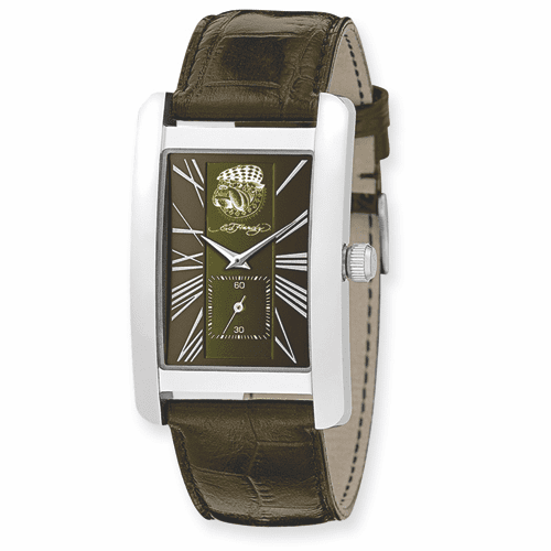 Mens Ed Hardy 1st Class Green and Brown Watch