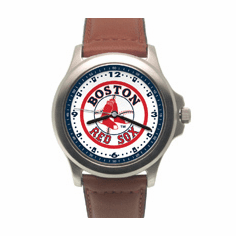 Mens MLB Boston Red Sox Leather Band Rookie Watch