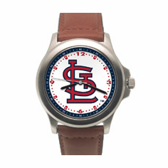 Mens MLB St. Louis Cardinals Leather Band Rookie Watch