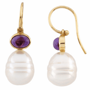 Paspaley South Sea Cultured Circle Pearl & Genuine Amethyst Earrings