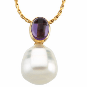 Paspaley South Sea Cultured Circle Pearl & Genuine Amethyst pendant