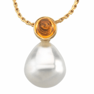 Paspaley South Sea Cultured Circle Pearl & Genuine Citrine Pendant