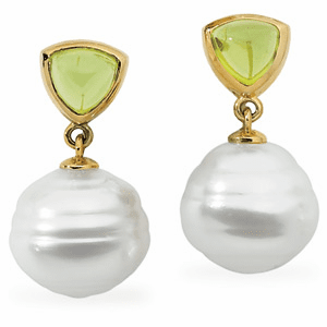 Paspaley South Sea Cultured Circle Pearl & Genuine Peridot Earrings