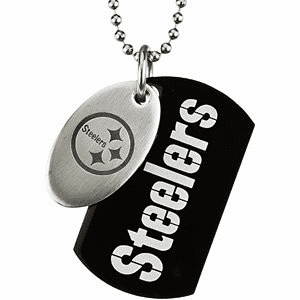 Pittsburgh Steelers Double Dog Tag w/chain, Ready to Ship Today